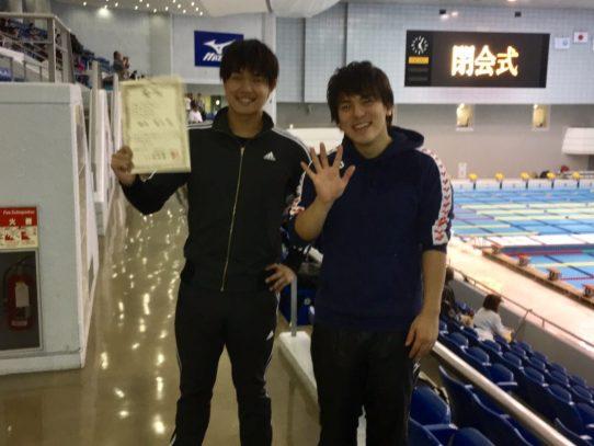 【水泳部】第25回フィンスイミング短水路日本選手権大会、男子400m Jビーフィンの部にて表彰台!